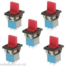 09061 5x DPDT Centre Bias Momentary Toggle Switch Red (ON)-OFF-(ON) 3A 250V