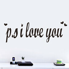 PS I Love You Romantic Vinyl Wall Sticker Bedroom Decor Quotes Decal Art Saying