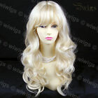 New Wonderful Pale Blonde Long Wavy Ladies Wigs WIWIGS #613 UK