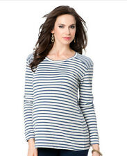 NWT $125 SPLENDID Pea in the Pod Maternity Striped Chambray Scoop Shirt Top L