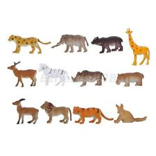 12x Plastic Wild Animal Elephant Bear Deer Models Kids Toys Party Bag Favour