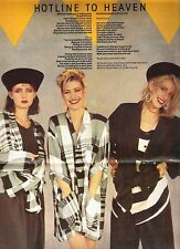 BANANARAMA Hotline To Heaven lyrics Centerfold magazine POSTER  17x11 inches
