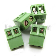 """10PCS PCB Screw Terminal Block 2 Pole 0.2"""" 5mm Pin Pitch for 24-12AWG 300V 10A"""