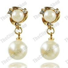 "CLIP ON gold plated CREAM PEARL crystal EARRINGS rhinestone 1"" long small drop"