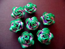 New 10 Polymer Fimo Clay Flower Rose Green Purple Beads 40mm