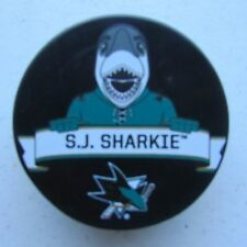 "Official NHL Licensed puck of the San Jose Sharks Mascot ""S.J. Sharkie"""