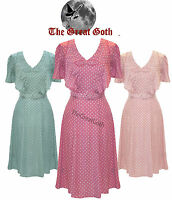 Hell Bunny Jennifer Pastel Polka Dot 40s Wartime WW2 Summer Tea Party Dress PLUS