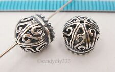 2x OXIDIZED STERLING SILVER DOME PENDANT END CAP TASSEL CONNECTOR BEAD #2581