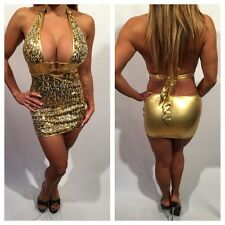 Connie's Gold metallic & Sequin Low cut Halter Party Dress OS  S/M
