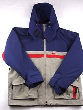 Quicksilver Mens Winter Jacket / Coat Size XL Blue And Tan HOODED Extra Large