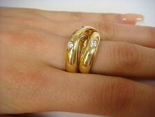 18K YELLOW GOLD UNUSUAL SWIRL BAND-RING WITH DIAMONDS 0.50 CT T.W., 9.8 GRAMS