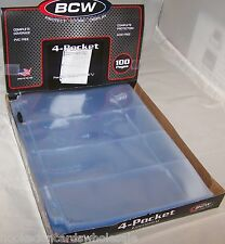 200 BCW 4 Pocket Pages Currency Coupon Holders Box