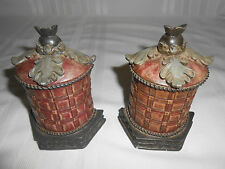 PAIR OF FINIAL STYLE BASKET WEAVE BOOKENDS