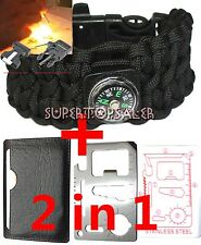 550 Paracord Survival Bracelet Black Cobra Sinnet Weave Military Tactical