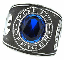 POLICE OFFICER BLUE STONE SILVER SS RING SIZE 7 8 9 10 11 12 13 14