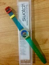 Vintage waterproof women's 80s Quartz Swatch watch in original case, blue wave