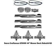 """44"""" Mower Deck Rebuild Kit Fits Sears Craftsman GT6000 Spindles Blades (111)"""