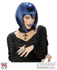Blue Bob Wig With Gothic Vampiress Emo Vampire Halloween Fancy Dress