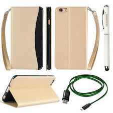 Gold PU Leather Flip Cover Wallet Stand Case for iPhone 6S Plus + Cable +Stylus