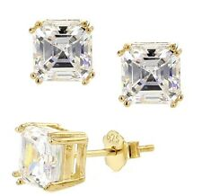 Yellow Gold Plated Double Prong Asscher-Cut Cubic Zirconia Stud Earrings, 6mm
