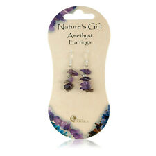 Purple Amethyst Chip Crystal Drop Down British Fossils Natures Gift Earrings