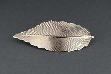 "Gold leaf metal barrette curved hair clip leaves 4"" long stamped textured"