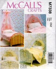 "McCalls 7338 18"" Girl Doll Pattern Bedroom Accessories Bedspread Bed Blanket"