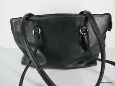 FOSSIL M Black Glove Soft Pebbled Leather Zip Top Straps Purse Handbag EUC