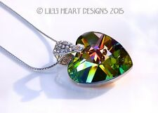 Fine Crystal Peacock Heart Pendant with Silver Plated Chain Lilli Heart Designs