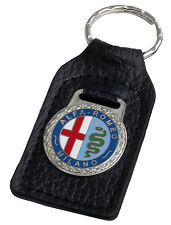 Alfa Romeo leather and enamel car key ring fob