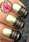 NAIL ART WRAP WATER TRANSFER DECALS SEXY BLACK LACE SCALLOPED EDGE #82