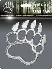 New 3D Chrome Bear Paw Self Adhesive Emblem Badge/Decal Car Truck Motorcycle RV