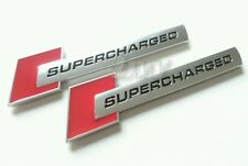 2x SUPERCHARGED RED SILVER BLACK BADGE AUDI S1 S3 S4 S5 RS3 RS4 RS5 RS TT S LINE