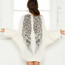 Women's Casual Long Sleeve Angel Wings Prints Coat Cardigan Jacket Tops White