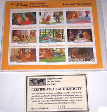 Disney Lady and the Tramp Animal Stories Postage Stamps Grenada