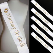 Baby Shower Party Sash Mummy Mum To Be Satin Sashes Ribbon Gold Color Children