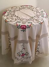 """Shabby  Chic Cross Stitch Tablecloth, Crochet Inset & Lace Border 64"""" ROUND"""