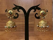Indian Pakistani Ethnic Antique Gold PlateD Multi Color Jewelry Jhumka Earring