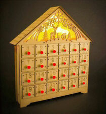 Christmas Advent Calendar Wooden Light Up LED Decoration Carved Xmas Countdown