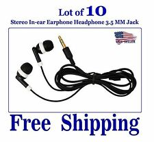 Lot of 10 Black Stereo In-ear Earphone Headphone 3.5 MM Jack - 10 items p/Lot !!