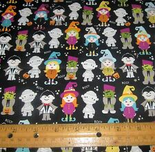 1 yard of SMALL CHILDREN in HALLOWEEN COSTUMES on BLACK 100% Cotton Fabric