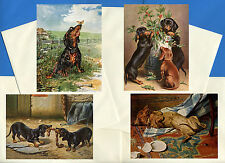 DACHSHUND PACK OF 4 VINTAGE STYLE DOG PRINT GREETINGS NOTE CARDS #6