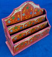 Vintage Indian Kashmir Wooden Lacquered Painted Letter Rack Shaped Back ca 1920