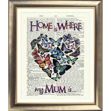 ART PRINT ORIGINAL ANTIQUE OLD BOOK PAGE Dictionary Heart HOME IS MUM Butterfly