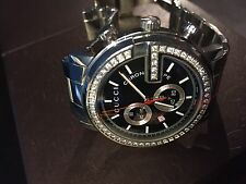 """Gucci """"G Chrono"""" Collection Stainless Steel and Black/Diamond Dial, 44 mm"""