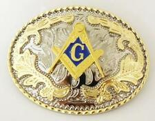 MASONIC LOGO RODEO COWBOY SHINE GOLD SILVER WESTERN BELT BUCKLE