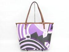 Auth Emilio Pucci Tote Bag Shoulder Hand Purple Multi-color 40130319000 J066X