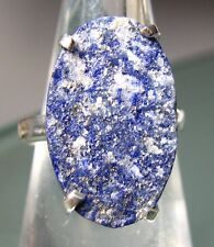 925 silver very chunky ROUGH LAPIS LAZULI ring UK P½/US 8