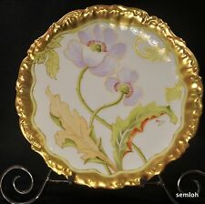 LIMOGES ELITE Bawo Dotter PLATE 1900-1914 Artist Riguel POPPIES w/GOLD Outlining