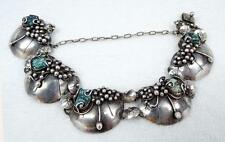 Ultra-RARE Vtg Mary Gage Sterling & Turquoise Lily Pad Bracelet SUPERB
